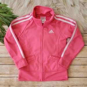 ADIDAS Pink Full Zipper 3 Stripe Track Jacket